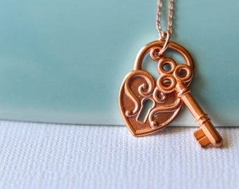 Lock and Key Necklace in Copper