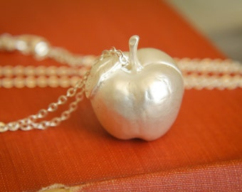 Giant Apple Necklace in Matte Silver