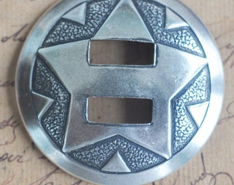 Southwestern Brass Star Concho, 35mm, Sterling Silver Finish