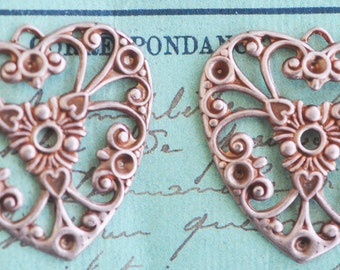 Two Neo Victorian Brass Filigree Heart Charms, Rose ox