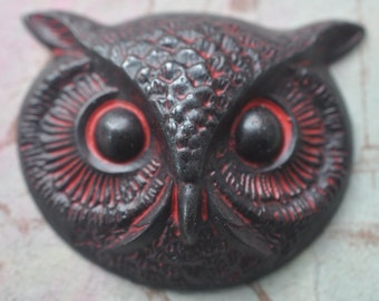 Large Brass Owl Head, Wicked Sassy Patina