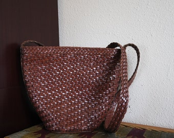 Woven Dark Brown Bucket Shoulder Bag
