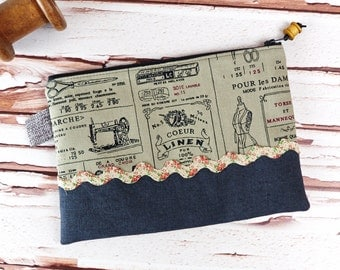 Vintage Look Rustic Linen Zipper Pouch with Wooden Bobbin Spool Sewing Seamstress Makeup Cosmetic Bag Gift for Women