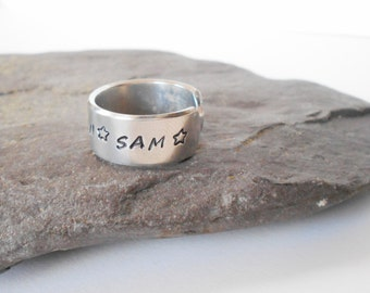 hand stamped aluminium cuff ring, personalised ring, adjustable ring, open ring, customised ring, mens ring, womens ring