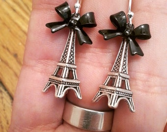 Eiffel Tower Earrings, Wrapped Up With a Bow, Silver Three Dimensional Eiffel Tower Charms, Black Enameled Bows, Sterling Earrings giftwrap