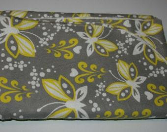 Baby Girl Swaddle Blanket: Grey & Yellow Butterflies (XL)