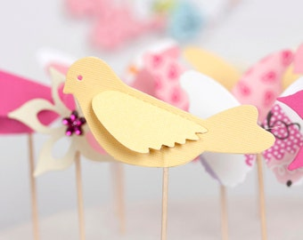 butterflies birds and flowers cupcake toppers