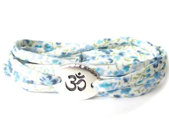 Fitness gift for exercise lover, Yoga bracelet with blue pastels, Liberty fabric wrap for every day wear, meaningful gift for best friend
