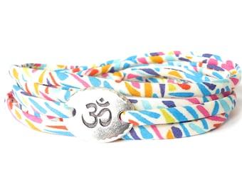 Liberty fabric wrap in colourful zebra stripe print, Om bracelet for Yoga lovers, meaningful gift for best friend, UK based bracelet shop