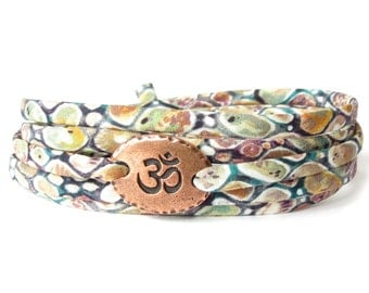 Liberty fabric bracelet with Ohm charm, Yoga bracelet, fabric wrap in earthy colours for every day wear, meaningful gift for best friend
