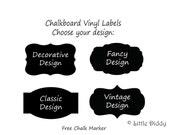 "2"" by 3"" Chalkboard Labels - 20 labels- Mason Jar, Wedding, Pantry, Canisters, Bins, Baskets, Jars, Glasses, Wedding - FREE CHALK MARKER"