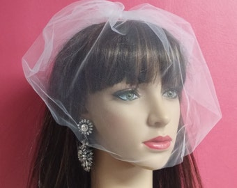 Blusher Veil,Short Wedding Veil,White Wedding Veil, White Blusher Veil