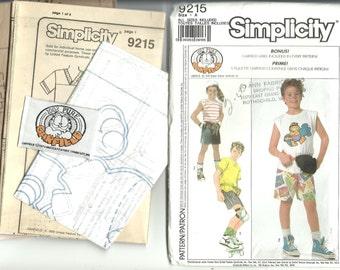 Simplicity Pattern 9215 Garfield Boys Shorts, T shirt, Bicycle Bag (7-12) UNCUT