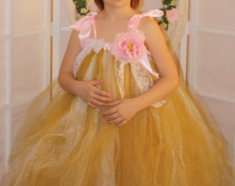 Golden fairy amazing flower girl dress,weddings,birthdays,fairy costume tutu,tulle dress