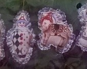 Vintage Embroidery Kit for 6 Soft Christmas Ornaments - Cat, Santa, Clown, Reindeer, Angel, Stocking - Creative Circle Unopened Kit