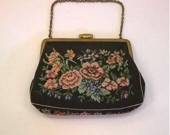 Vintage 1950s Petit Point Purse - Floral Petitpoint Evening Bag - Made in Czechoslovakia
