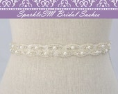 Rhinestone Bridal Sash, Rhinestone and Crystal Wedding Belt, Rhinestone Pearl Satin Sash, Jeweled Beaded Sash, Bridal Accessories-Alessandra