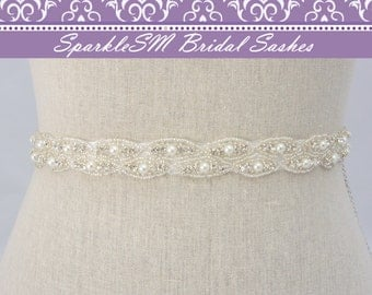 Rhinestone Sash, Pearl Bridal Sash, Pearl Bridal Belt, Jeweled Beaded Sash, Crystal Sash, Bridal Dress Sash Bridesmaids Sash Rhinestone Belt