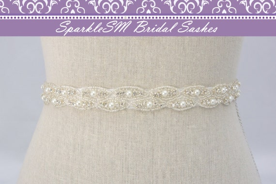 Rhinestone Bridal Sash, Rhinestone and Crystal Wedding Belt, Rhinestone Pearl Satin Sash, Jeweled Beaded Sash, Bridal Accessories-Alessandra
