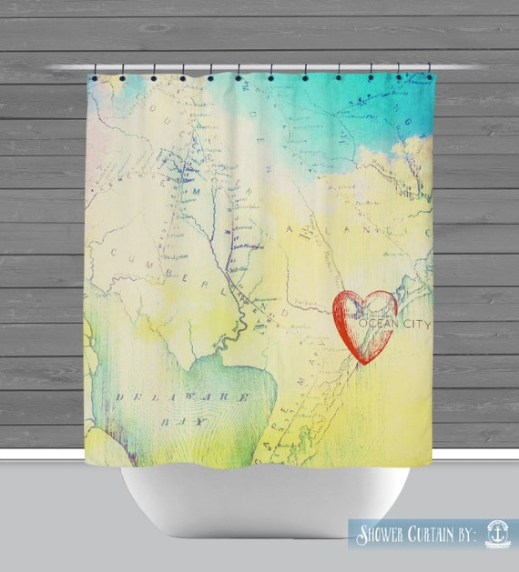 Ocean City Shower Curtain: Heart In OC New Jersey Map 12