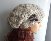 Handmade Knit Cable Hat Beanie Slouchy Hat #1 Beanie Large Men Women oatmeal hat Baggy cabled Slouchy hat Warm hat Mens Hats wooden buttons