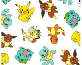 "END OF BOLT - Pokemon Characters on White From Robert Kaufman - 24"" X 44"""