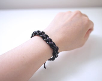Minimal Black Coating Chain With Antique Ribbon Bracelet