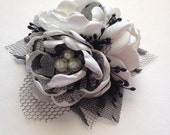 Pin Corsage - Cream and Black Corsage Pin - Fabric Flowers, Forever Flowers, Keepsake Corsage Pin, Mother of the Bride, Special Occasion