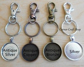 """10 25mm 1"""" Swivel Lobster Clasp Key chains Split Rings + Round Charms  Silver, Antique Silver, Bronze, Copper + Clear Epoxy Stickers"""