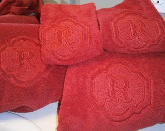Embossed Towel Sets/Monogrammed Bath Towels