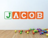 Block Lettering Decor - Name Wall Decal - Childrens Wall Decal -  Wall Art - Wall Decal