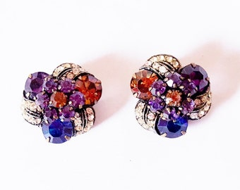 Vintage Weiss Clip Earrings Blue Purple Topaz Faceted Stones Vintage Style Wedding Evening jewelry 1940 Jewelry  Earrings Gift for Her