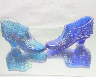 Vintage Pair of  Carnival Daisy and Button Glass Shoes Slippers Blue Purple Iridescent Glass Gift for her Shoe Fanatic  Collectable