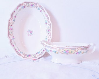 CottageChic Floral Serving Bowl Matching Gravy Server Pink yellow Blue Flowers Bowls Serving Dinnerware Wedding Shabby Chic