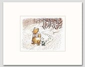 Winnie the Pooh Art w/Mat (Nursery Prints Boy Nursery Prints Girl) Winnie the Pooh and Piglet, Small Things Take the Most Room in Your Heart