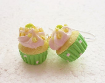 Lime Margaritas Cupcake Earrings. Polymer Clay.