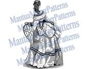 Victorian Dress Engraving, Instant Digital Download, 1871 #7