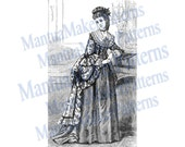 "1870s Pompadour / Dolly Varden Victorian Dress Engraving, 11"" tall, Instant Digital Download, JPG & PNG, 1871 #16"