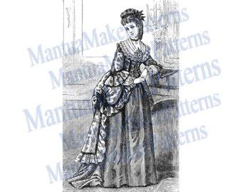 "1870s Pompadour / Dolly Varden Victorian Dress Engraving, 11"" tall, Instant Digital Download, JPG & PNG, 1871 #16"