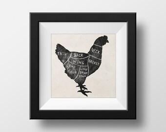 Butchers Chicken Chart Kitchen illustration giclée Print