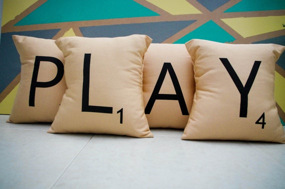 PLAY -- Set of 4 SCRABBLE LETTER decorative pillow cases cushion covers -- or choose any 4 letters