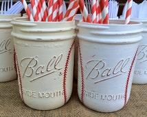 Hand Painted Baseball Birthday Decor. Baseball Utensil Holder. Baseball Home Decor. Baseball Party Decor. Baseball Birthday Gift. Mason Jars