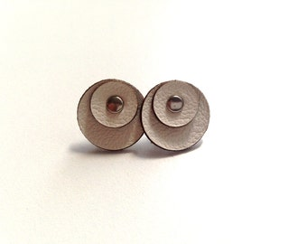 Modern post leather earrings with sterling silver posts - circle leather earrings - Juno Earrings