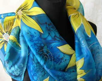 Dark Ocean Blue Flowers Silk Scarf. Hand Painted Silk Scarf. Golden Flowers. Dark Ocean Blue. 17x50 inch