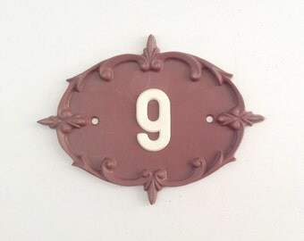 9 Door number use for home decor, assemblage, art , photography prop