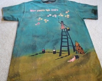 Who paints the stars,new design of a young girl painting the stars, dog howling, spilled paint, discharged, silk screened man's medium shirt