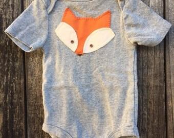 Baby fox onesie, hand sewn applique