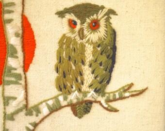 vintage handmade retro framed owl picture