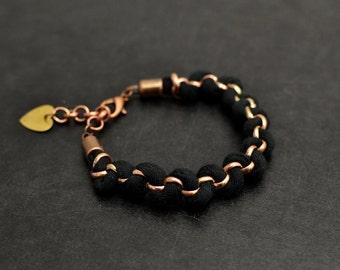 Black Fabric Bracelet, Woven Jersey Bracelet, Fiber Bracelet, Friendship Bracelet with Heart Shaped Brass Tag