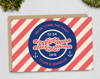 A6 Nautical Knot Save The Date, Anchor Wedding Invitations, Striped and Circle, Coastal, Custom, PRINTED